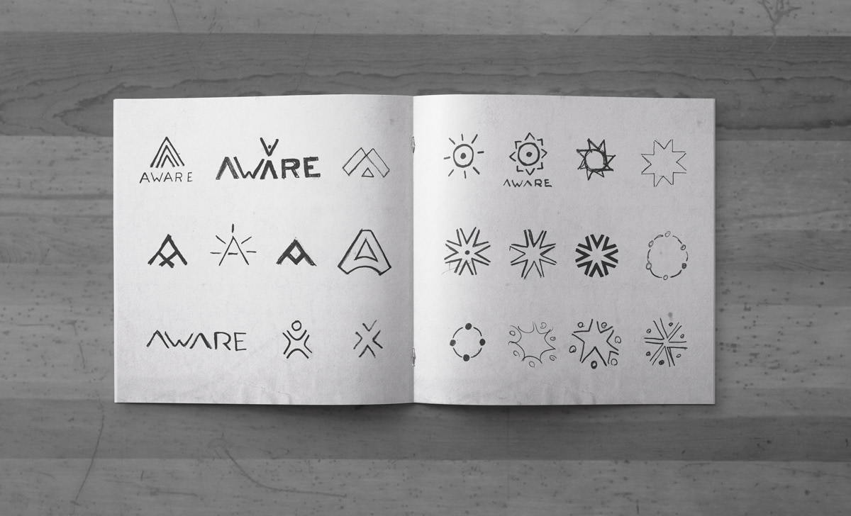 Aware logo sketches.
